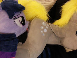 artist:neysanight character:derpy_hooves character:twilight_sparkle custom_plush licking lifesized toy:plushie // 800x600 // 486.4KB
