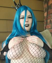 breast breast_grab character:queen_chrysalis cosplay female fishnet // 1349x1631 // 580.8KB